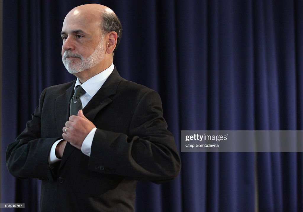 Federal Reserve Board Chairman Ben Bernanke walks away from the podiuim after delivering remarks September 15, 2011 in Washington, DC. Bernanke made brief opening remarks for a conference on 'Regulation of Systemic Risk'.