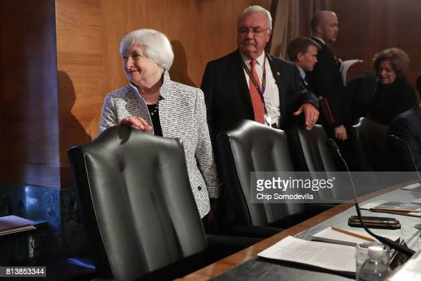 Federal Reserve Board Chairwoman Janet Yellen arrives for a hearing of the Senate Banking Houseing and Urban Affairs Committee in the Dirksen Senate...