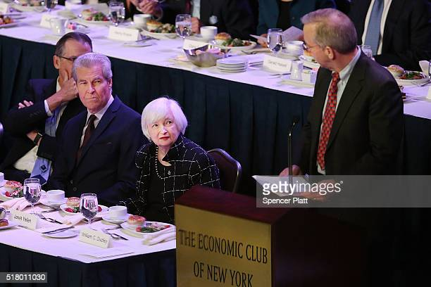 Federal Reserve Board Chairwoman Janet Yellen is introduced before speaking at the Economic Club of New York on March 29 2016 in New York City Due to...