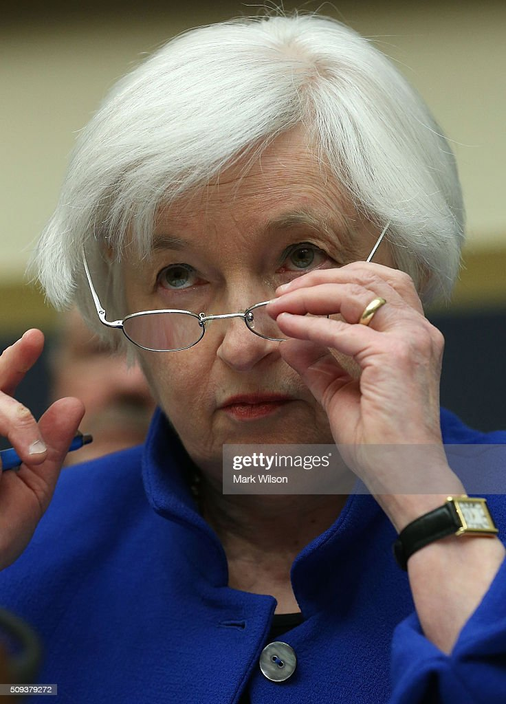 Federal Reserve Board Chairwoman, <a gi-track='captionPersonalityLinkClicked' href=/galleries/search?phrase=Janet+Yellen&family=editorial&specificpeople=2731344 ng-click='$event.stopPropagation()'>Janet Yellen</a> listens to questions during a House Financial Services Committee hearing on Capitol Hill, February 10, 2016 in Washington, DC. Ms. Yellen is delivering the Federal Reserve's semi-annual Monetary Policy Report to the House Committee.