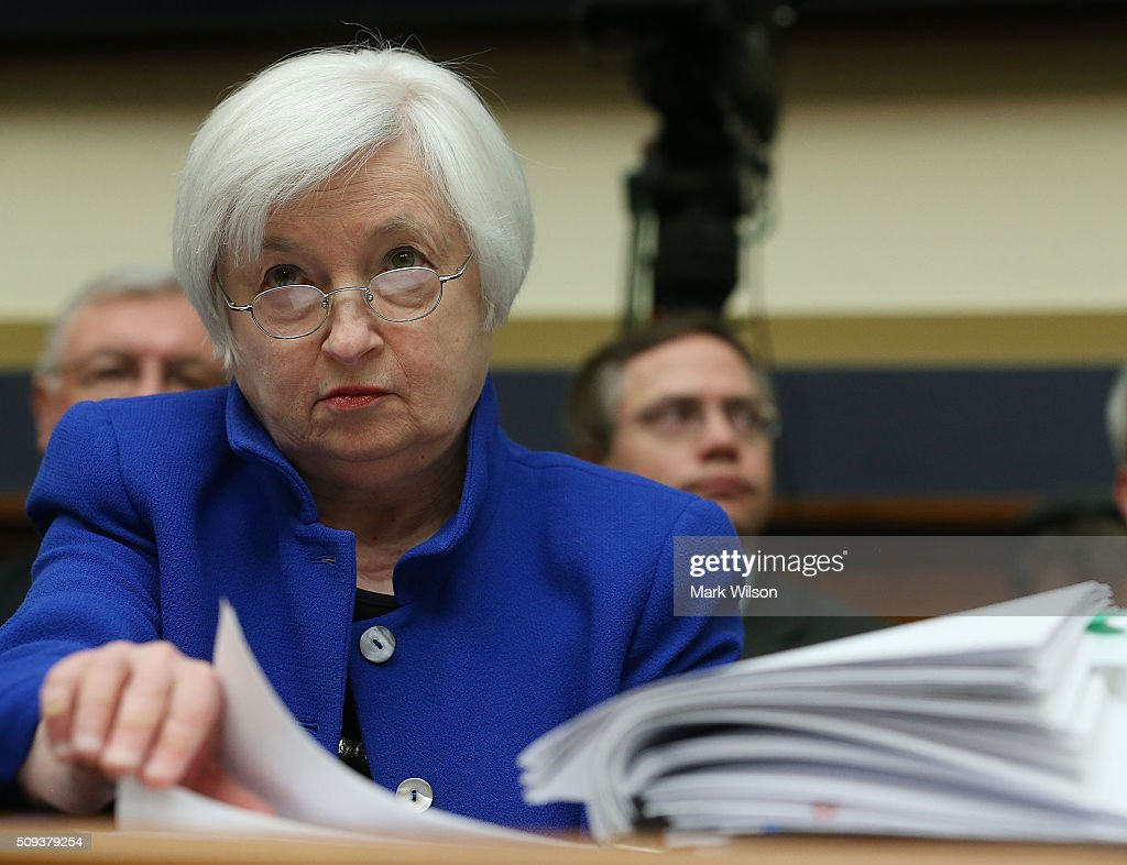 Federal Reserve Board Chairwoman, <a gi-track='captionPersonalityLinkClicked' href=/galleries/search?phrase=Janet+Yellen&family=editorial&specificpeople=2731344 ng-click='$event.stopPropagation()'>Janet Yellen</a> looks over her papers during a House Financial Services Committee hearing on Capitol Hill, February 10, 2016 in Washington, DC. Ms. Yellen is delivering the Federal Reserve's semi-annual Monetary Policy Report to the House Committee.