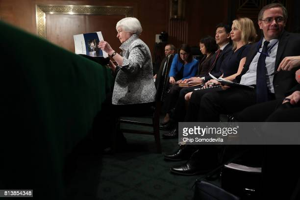 Federal Reserve Board Chairwoman Janet Yellen prepares to testify before the Senate Banking Houseing and Urban Affairs Committee in the Dirksen...