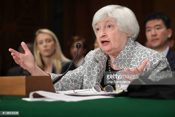 Federal Reserve Board Chairwoman Janet Yellen testifies before the Senate Banking Houseing and Urban Affairs Committee in the Dirksen Senate Office...