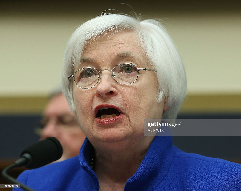 Federal Reserve Board Chairwoman, Janet Yellen testifies during a House Financial Services Committee hearing on Capitol Hill, February 10, 2016 in Washington, DC. Ms. Yellen is delivering the Federal Reserve's semi-annual Monetary Policy Report to the House Committee.