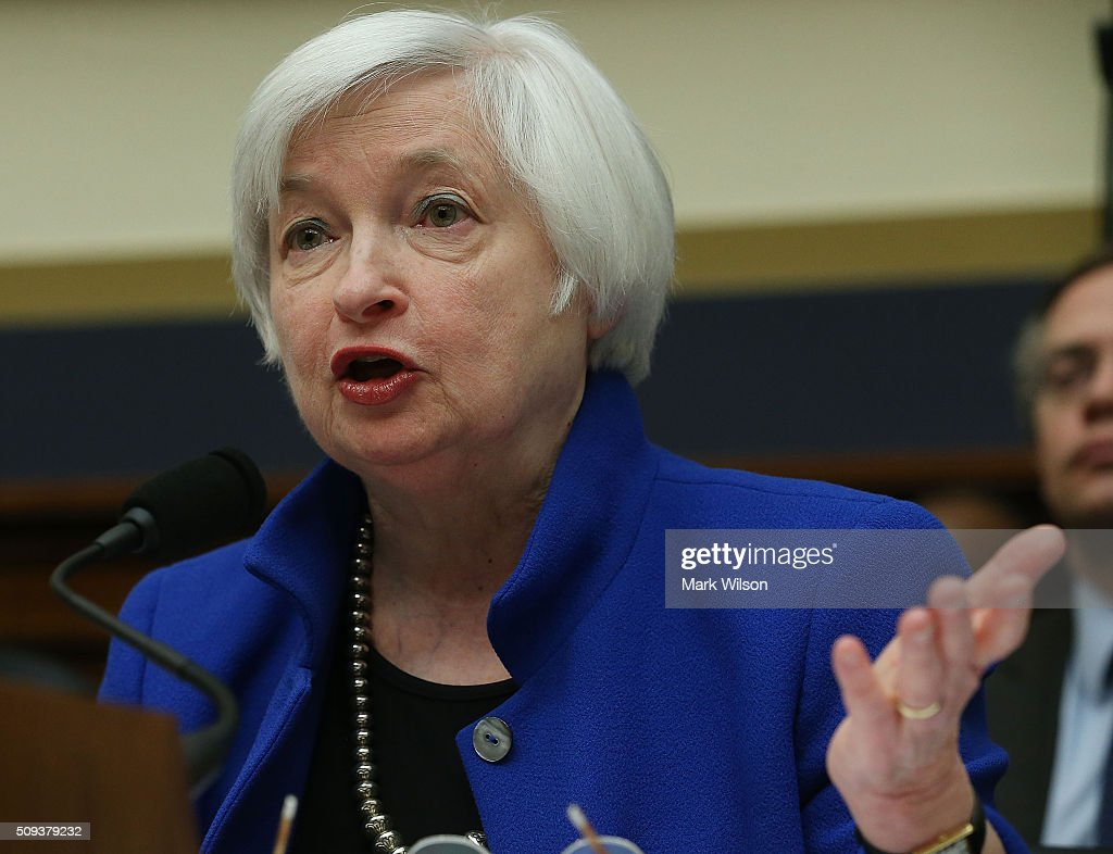 Federal Reserve Board Chairwoman, <a gi-track='captionPersonalityLinkClicked' href=/galleries/search?phrase=Janet+Yellen&family=editorial&specificpeople=2731344 ng-click='$event.stopPropagation()'>Janet Yellen</a> testifies during a House Financial Services Committee hearing on Capitol Hill, February 10, 2016 in Washington, DC. Ms. Yellen is delivering the Federal Reserve's semi-annual Monetary Policy Report to the House Committee.