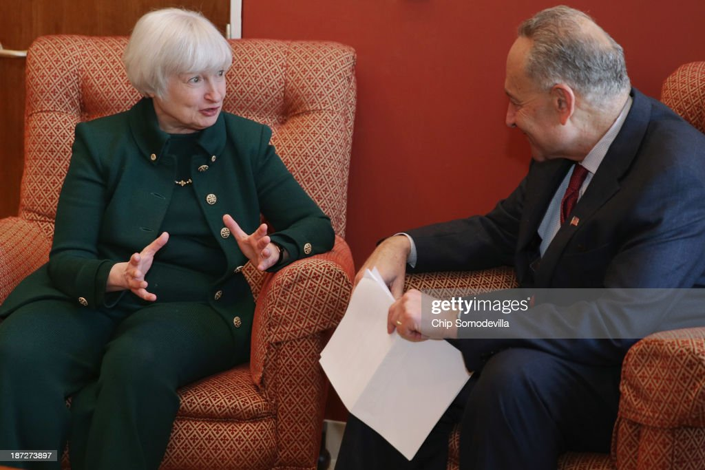 Federal Reserve Board of Governors Vice Chair <a gi-track='captionPersonalityLinkClicked' href=/galleries/search?phrase=Janet+Yellen&family=editorial&specificpeople=2731344 ng-click='$event.stopPropagation()'>Janet Yellen</a> (L) talks with U.S. Sen. <a gi-track='captionPersonalityLinkClicked' href=/galleries/search?phrase=Charles+Schumer&family=editorial&specificpeople=171249 ng-click='$event.stopPropagation()'>Charles Schumer</a> (D-NY) inhis office in the Hart Senate Office Building November 7, 2013 in Washington, DC. Yellen has been making the rounds on Capitol Hill and meeting with senators since she was nominated October 9 by President Barack Obama to replace outgoing Fed Chairman Ben Bernanke.