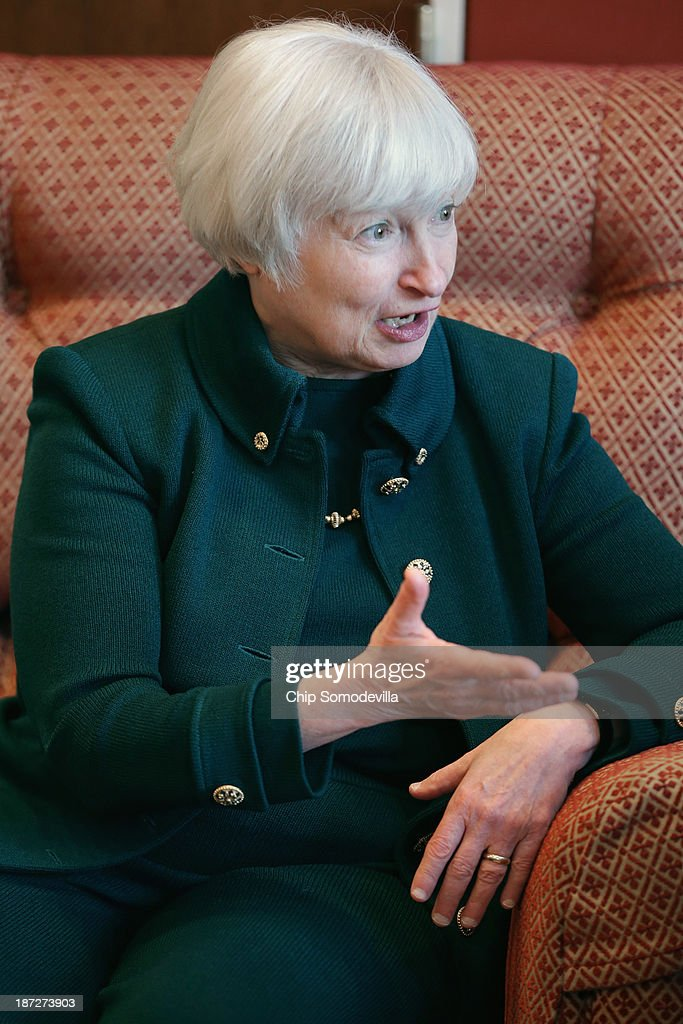 Federal Reserve Board of Governors Vice Chair <a gi-track='captionPersonalityLinkClicked' href=/galleries/search?phrase=Janet+Yellen&family=editorial&specificpeople=2731344 ng-click='$event.stopPropagation()'>Janet Yellen</a> talks with U.S. Sen. Charles Schumer (D-NY) (not pictured) in his office in the Hart Senate Office Building November 7, 2013 in Washington, DC. Yellen has been making the rounds on Capitol Hill and meeting with senators since she was nominated October 9 by President Barack Obama to replace outgoing Fed Chairman Ben Bernanke.