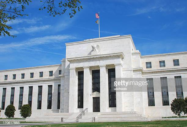 US Federal Reserve building in Washington DC with blue sky