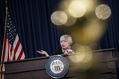 US Federal Reserve Chair Janet L Yellen speaks during a briefing at the Federal Reserve March 19 2014 in Washington DC Yellen delivered her first...
