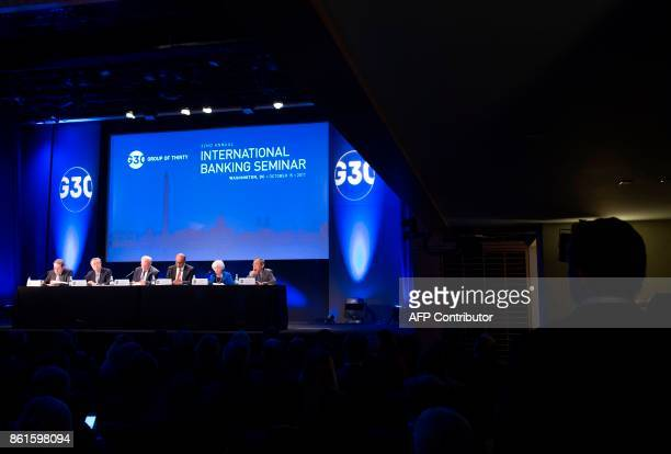 Federal Reserve Chair Janet Yellen 92ndR speaks during the 32nd Annual Group of 30 International Banking Seminar in Washington DC on October 15 2017...