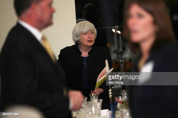 Federal Reserve Chair Janet Yellen arrives at an annual dinner of the National Economists Club at the British Embassy October 20 2017 in Washington...