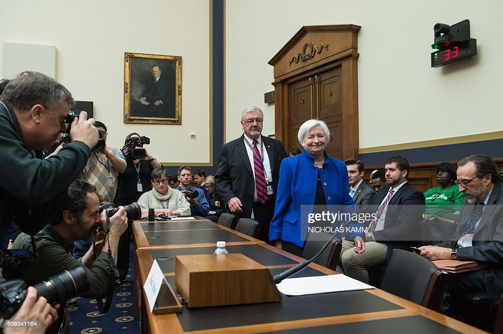 US Federal Reserve chair Janet Yellen arrives to testify before the House Financial Services Committee on Capitol Hill in Washington, DC, on February 10, 2016. / AFP / NICHOLAS KAMM