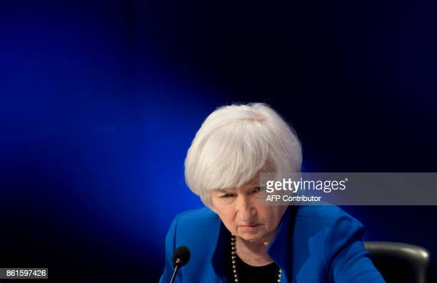 Federal Reserve Chair Janet Yellen attends the 32nd Annual Group of 30 International Banking Seminar in Washington DC on October 15 2017 / AFP PHOTO...