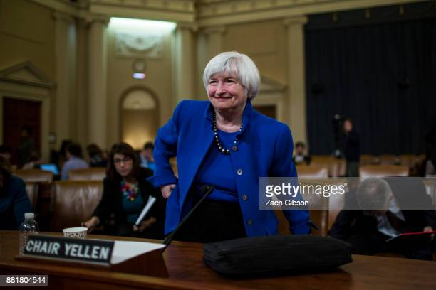 Federal Reserve Chair Janet Yellen departs after testifying during a Joint Economic Committee on Economy Hearing on Capitol Hill November 29 2017 in...