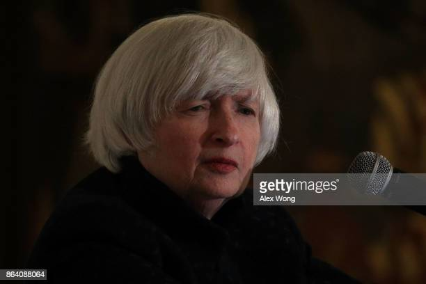 Federal Reserve Chair Janet Yellen listens to a question during an annual dinner of the National Economists Club at the British Embassy October 20...