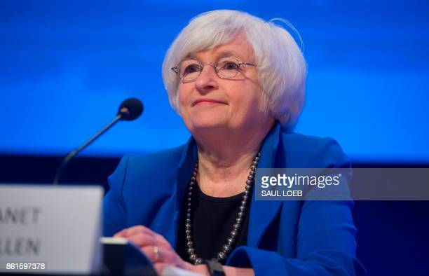 Federal Reserve Chair Janet Yellen looks on during the 32nd Annual Group of 30 International Banking Seminar in Washington DC on October 15 2017 /...
