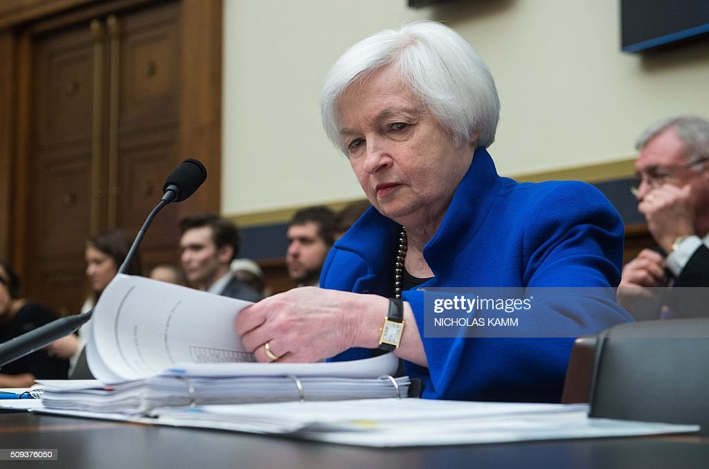 US Federal Reserve chair Janet Yellen prepares to testify before the House Financial Services Committee on Capitol Hill in Washington, DC, on February 10, 2016. / AFP / NICHOLAS KAMM