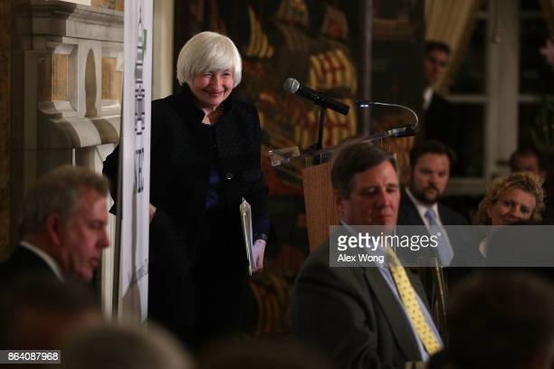 Federal Reserve Chair Janet Yellen smiles after she spoke during an annual dinner of the National Economists Club at the British Embassy October 20...