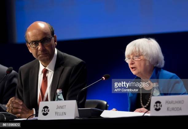 Federal Reserve Chair Janet Yellen speaks alongside Singapore's Deputy Prime Minister and G30 Chairman Tharman Shanmugaratnam during the 32nd Annual...