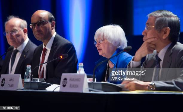 Federal Reserve Chair Janet Yellen speaks alongside Singapore's Deputy Prime Minister and G30 Chairman Tharman Shanmugaratnam Bank of Japan Governor...