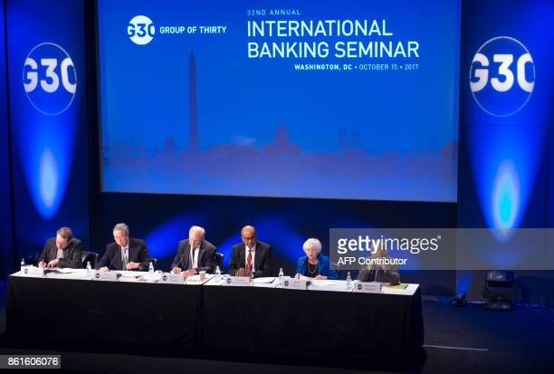 Federal Reserve Chair Janet Yellen speaks alongside Vitor Constancio VicePresident of the European Central Bank Zhou Xiaochuan Governor of the...