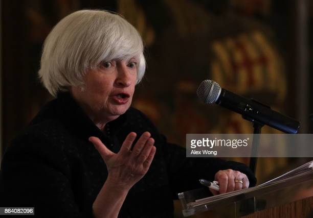 Federal Reserve Chair Janet Yellen speaks during an annual dinner of the National Economists Club at the British Embassy October 20 2017 in...