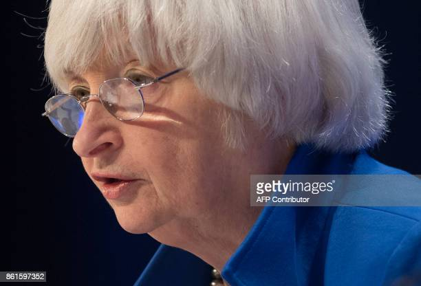 Federal Reserve Chair Janet Yellen speaks during the 32nd Annual Group of 30 International Banking Seminar in Washington DC on October 15 2017 / AFP...