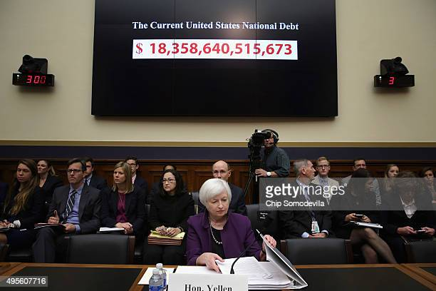 Federal Reserve Chair Janet Yellen testifies before the House Finance Committee in the Rayburn House Office Building November 4 2015 in Washington DC...
