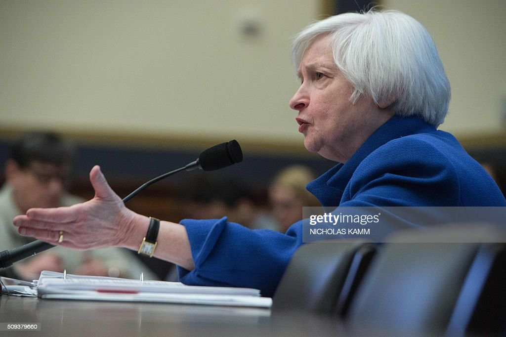 US Federal Reserve chair Janet Yellen testifies before the House Financial Services Committee on Capitol Hill in Washington, DC, on February 10, 2016. Federal Reserve Chair Janet Yellen warned that the US economy faces risks from tightening domestic financial conditions as well as global economic turmoil. / AFP / NICHOLAS KAMM