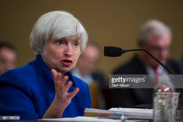Federal Reserve Chair Janet Yellen testifies during a Joint Economic Committee on Economy Hearing on Capitol Hill November 29 2017 in Washington DC...