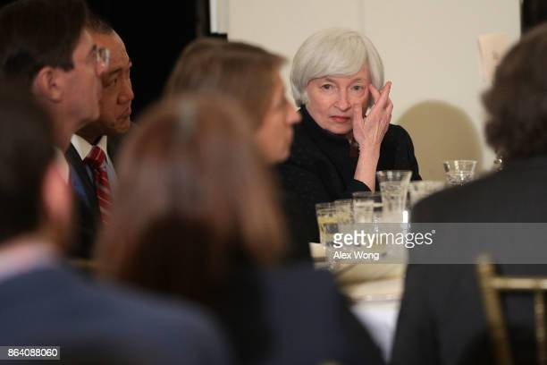 Federal Reserve Chair Janet Yellen waits to be introduced during an annual dinner of the National Economists Club at the British Embassy October 20...
