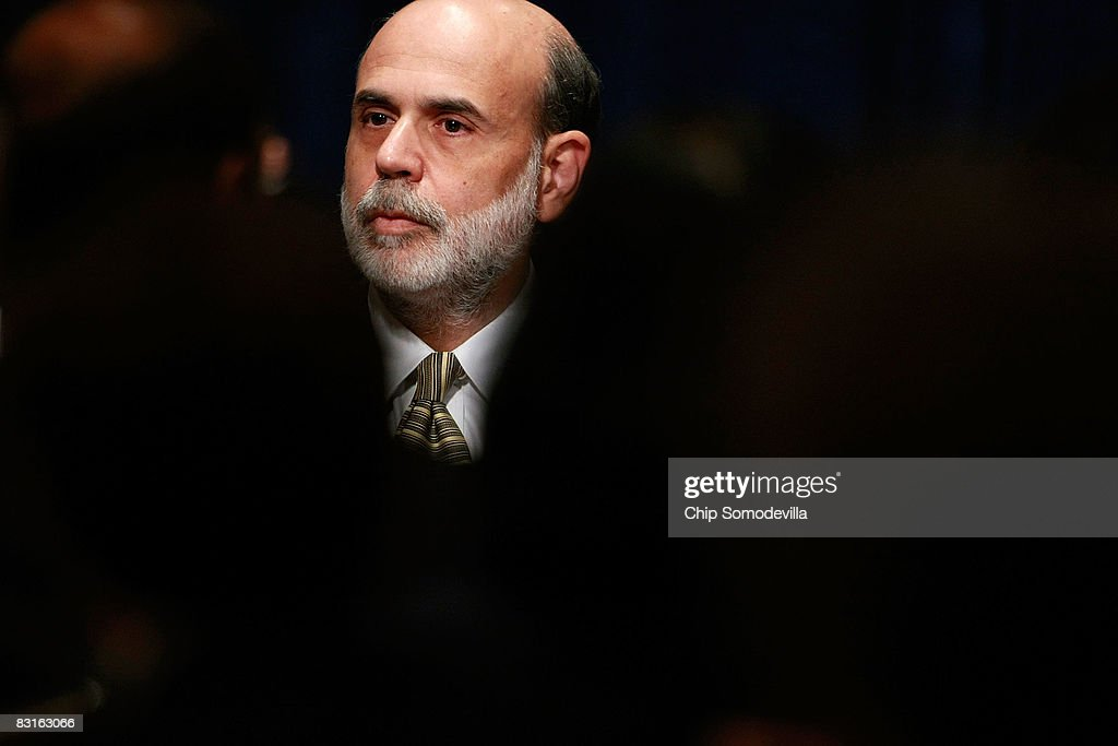 Federal Reserve Chairman Ben Bernanke addresses the The National Association for Business Economics' 50th annual meeting October 7, 2008 in Washington, DC. Bernanke said the Fed needs to consider whether holding interest rates at their current level was appropriate before its next meeting at the end of October. The Fed today announced that it will begin to buy short-term debt as part of a recovery program to stimulate credit markets.