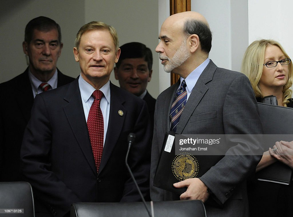 U.S. Federal Reserve Chairman <a gi-track='captionPersonalityLinkClicked' href=/galleries/search?phrase=Ben+Bernanke&family=editorial&specificpeople=568098 ng-click='$event.stopPropagation()'>Ben Bernanke</a> (2nd L) arrives with committee chairman U.S .Rep. Spencer Bachus (R-AL) (2nd during a hearing at the House Financial Services Committee in the Rayburn House Office Building on Capitol Hill on March 2, 2011 in Washington, DC. Bernanke reportedly defended the Federal Reserves monetary policy against criticism from Republicans.