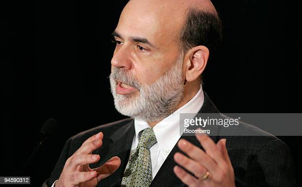 Federal Reserve Chairman Ben Bernanke gestures as he speaks to bankers and other financial executives on the subprime mortgage market during a...