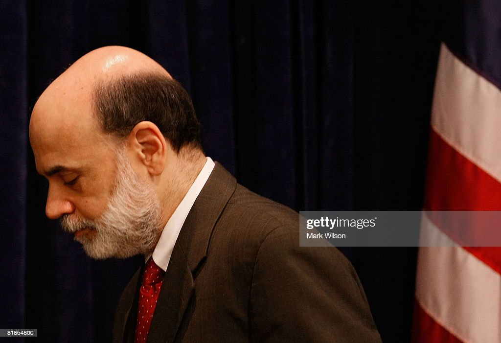 Federal Reserve Chairman Ben Bernanke leaves after speaking at The Federal Deposit Insurance Corporation July 8, 2008 in Arlington, Virginia. Bernanke was speaking to a forum at on mortgage lending for low and moderate income households.