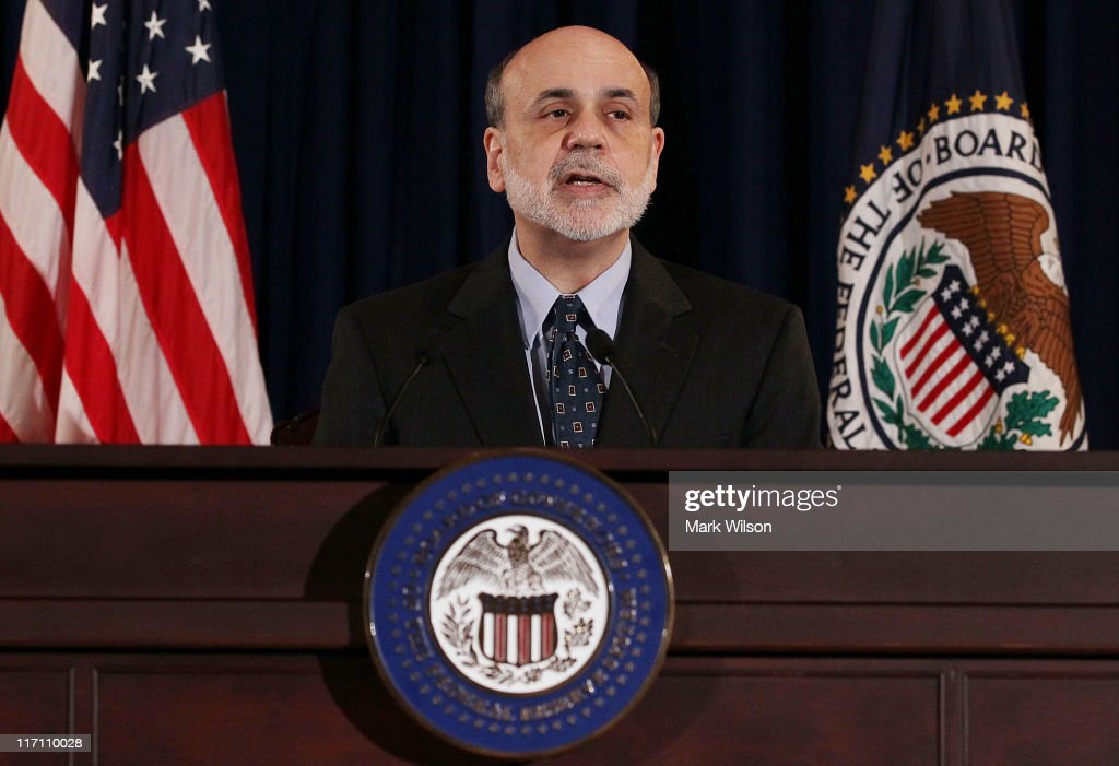 Federal Reserve Chairman <a gi-track='captionPersonalityLinkClicked' href=/galleries/search?phrase=Ben+Bernanke&family=editorial&specificpeople=568098 ng-click='$event.stopPropagation()'>Ben Bernanke</a> participates in a press briefing at the Federal Reserve building, on June 22, 2011 in Washington, DC. Chairman Bernanke said that the Fed's decision making body, the Federal Reserve Open Market Committee, has decided not to raise interest rates at this time.