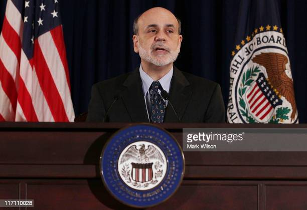 Federal Reserve Chairman Ben Bernanke participates in a press briefing at the Federal Reserve building on June 22 2011 in Washington DC Chairman...