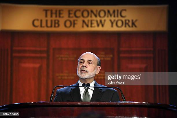 Federal Reserve Chairman Ben Bernanke speaks at the Economic Club of New York on November 20 2012 in New York City He urged Congress to act to avoid...