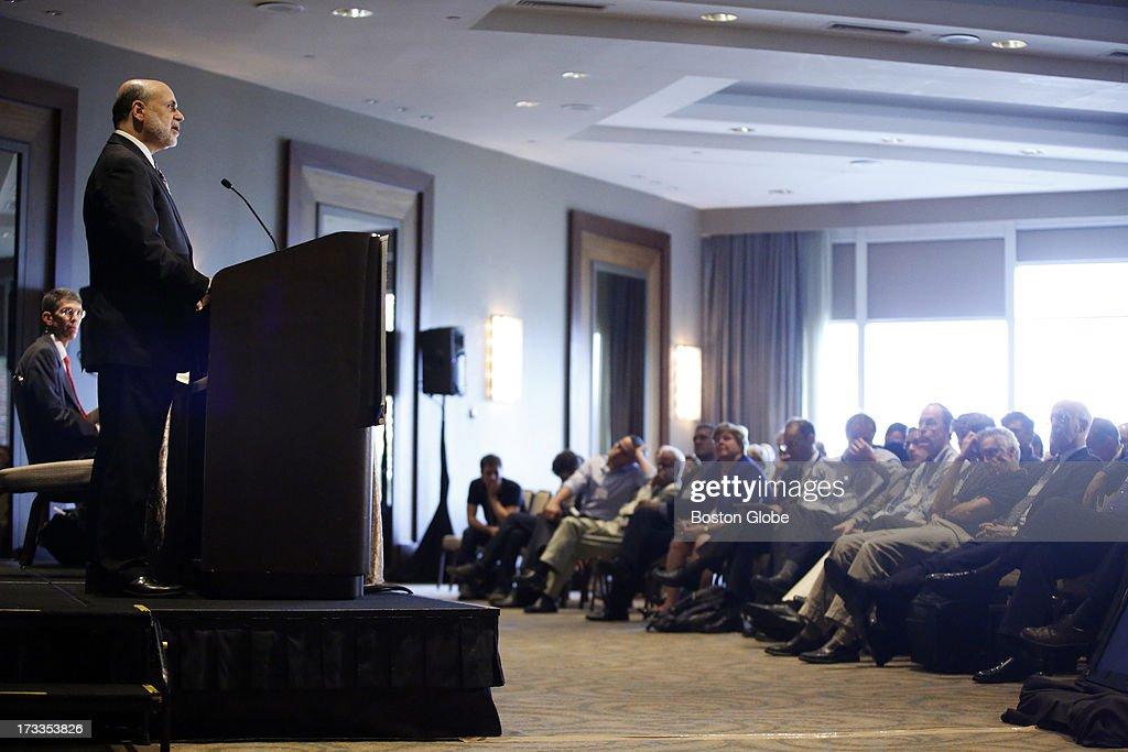 Federal Reserve Chairman Ben Bernanke speaks at the Sonesta Hotel in Cambridge, Mass., July 10, 2013.