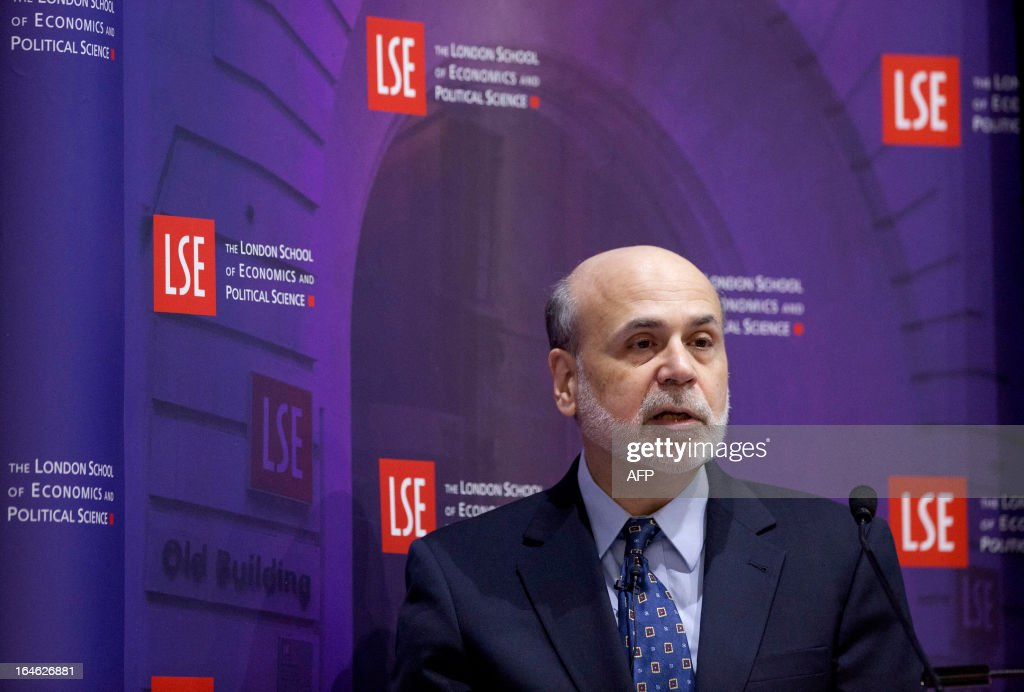 US Federal Reserve Chairman Ben Bernanke speaks during a financial and economic event discussing the financial crisis at the London School of Economics (LSE) in London on March 25, 2013. At the discussion which was attended by speakers including Bank of England governor Mervyn King, US Federal Reserve Chairman Ben Bernanke, UBS chairman Axel Weber and former US Treasury Secretary Lawrence Summers Bernanke rejected worries that the world's leading economies were competitively cutting their currency values.