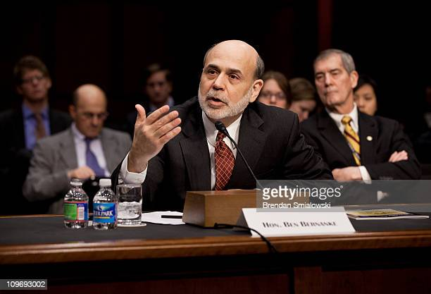 Federal Reserve Chairman Ben Bernanke speaks during a hearing of the Senate Banking Housing and Urban Affairs Committee on Capitol Hill March 1 2011...