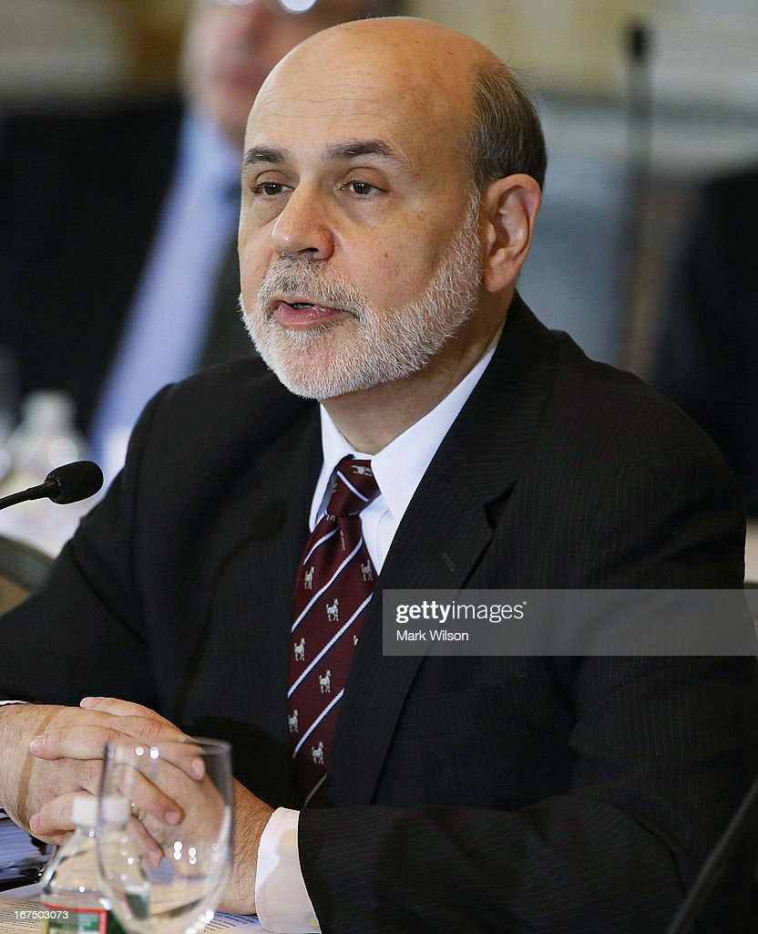 Federal Reserve Chairman <a gi-track='captionPersonalityLinkClicked' href=/galleries/search?phrase=Ben+Bernanke&family=editorial&specificpeople=568098 ng-click='$event.stopPropagation()'>Ben Bernanke</a> speaks during an open session of the Financial Stability Oversight Council at the Treasury Department, April 25, 2013 in Washington, DC. The session was held to discuss the financial markets and emerging threats to financial stability, and make relevant recommendations.