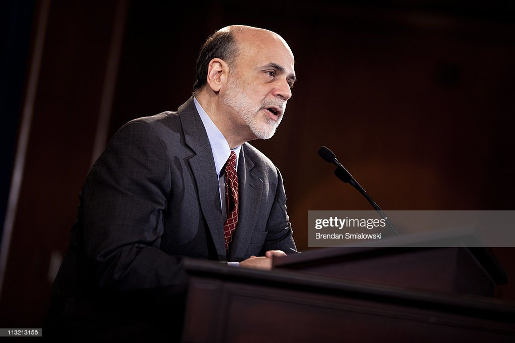 Federal Reserve Chairman <a gi-track='captionPersonalityLinkClicked' href=/galleries/search?phrase=Ben+Bernanke&family=editorial&specificpeople=568098 ng-click='$event.stopPropagation()'>Ben Bernanke</a> speaks during his first news briefing at the Federal Reserve's Board of Governors building April 27, 2011 in Washington, DC. Chairman Bernanke held the briefing after the release of the Federal Open Market Committee's monetary policy decision. The Federal Reserve Open Market Committee has announced that the key Fed fund's rate remains unchanged at 0-0.25 percent and stated that it will continue its plan to stimulate the economy with low interest rates and will continue to buy up to $600 billion in U.S. Treasury bonds through the end of June.