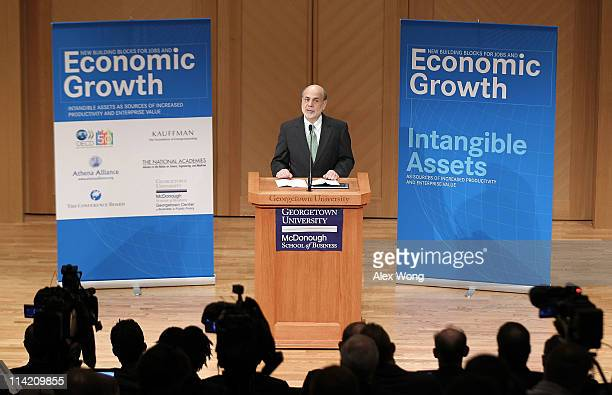 Federal Reserve Chairman Ben Bernanke speaks during the conference 'New Building Blocks for Jobs and Economic Growth' May 16 2011 at Georgetown...