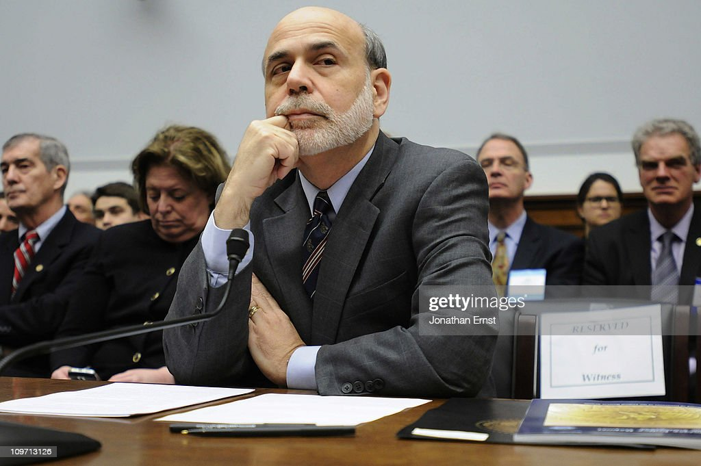 U.S. Federal Reserve Chairman Ben Bernanke testifies during a hearing at the House Financial Services Committee in the Rayburn House Office Building on Capitol Hill on March 2, 2011 in Washington, DC. Bernanke reportedly defended the Federal Reserves monetary policy against criticism from Republicans.