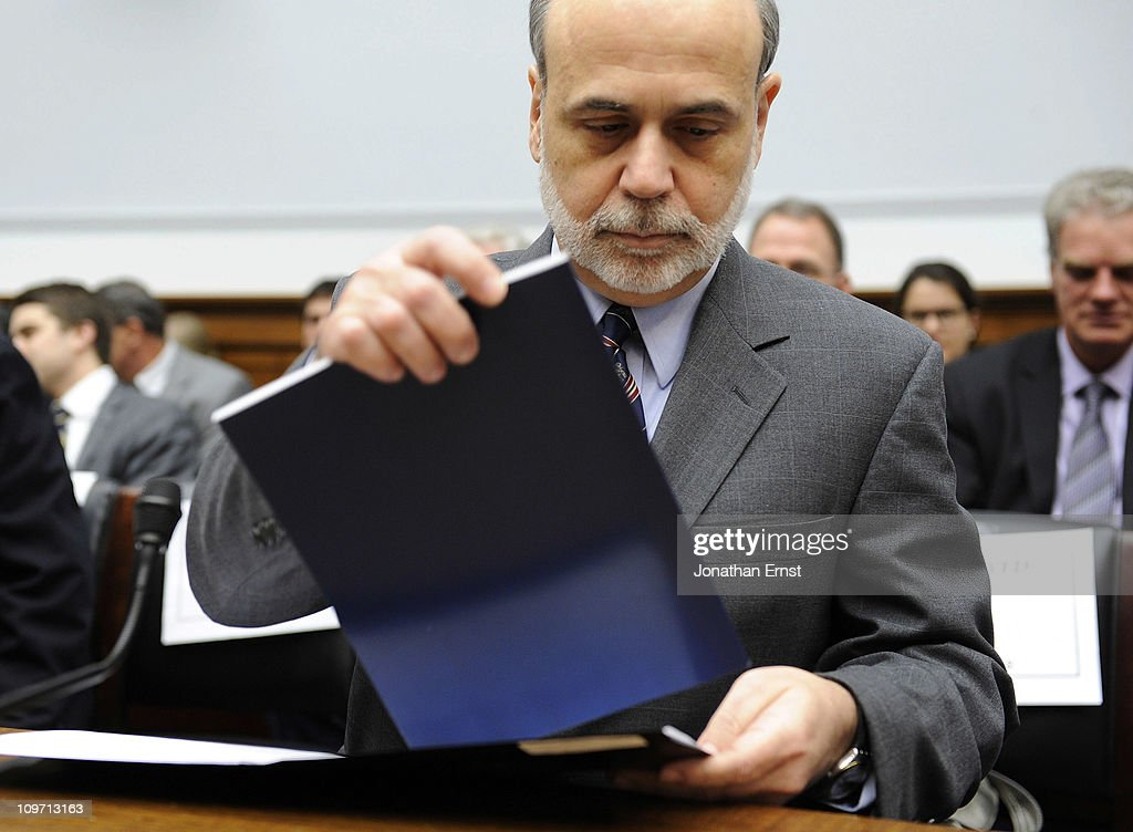 U.S. Federal Reserve Chairman <a gi-track='captionPersonalityLinkClicked' href=/galleries/search?phrase=Ben+Bernanke&family=editorial&specificpeople=568098 ng-click='$event.stopPropagation()'>Ben Bernanke</a> testifies during a hearing at the House Financial Services Committee in the Rayburn House Office Building on Capitol Hill on March 2, 2011 in Washington, DC. Bernanke reportedly defended the Federal Reserves monetary policy against criticism from Republicans.