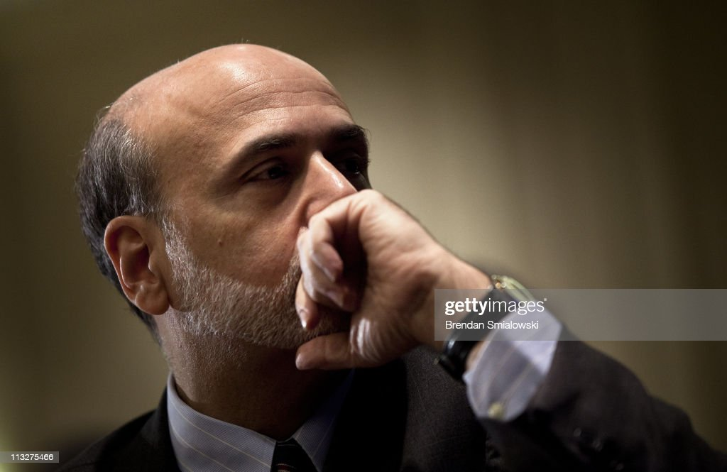 Federal Reserve Chairman <a gi-track='captionPersonalityLinkClicked' href=/galleries/search?phrase=Ben+Bernanke&family=editorial&specificpeople=568098 ng-click='$event.stopPropagation()'>Ben Bernanke</a> waits to speak during a luncheon at the 7th Federal Reserve Community Affairs Research Conference April 29, 2011 in Arlington, Virginia. The conference discusses challenges facing low-income communities and community development policy.