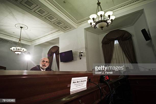 Federal Reserve Chairman Ben S Bernanke testifies during the House Budget hearing on the economy Bernanke and President Bush on Thursday endorsed the...