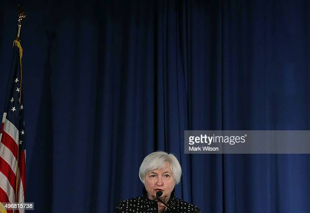 Federal Reserve Chairman Janet Yellen speaks at the Federal Reserve November 12 2015 in Washington DC Yellen opened the Conference on Monetary Policy...