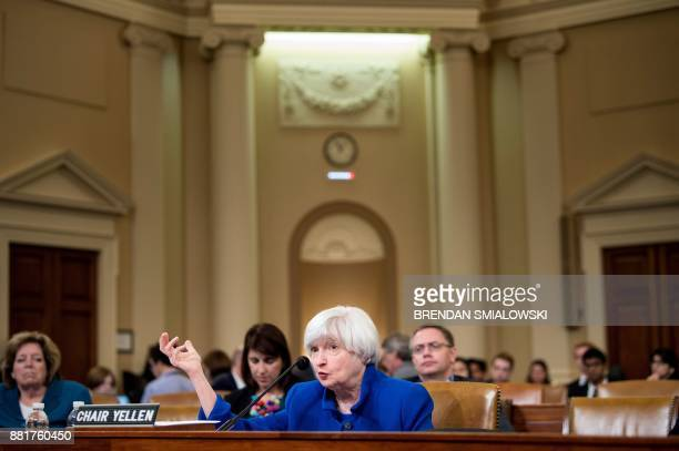 Federal Reserve Chairman Janet Yellen speaks during a hearing of the Joint Economic Committee on Capitol Hill November 29 2017 in Washington DC / AFP...